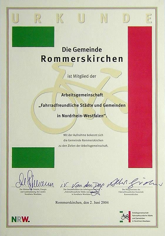 Aufnahmeurkunde in die Arbeitsgemeinschaft fahrradfreundlicher Kommunen NRW.
