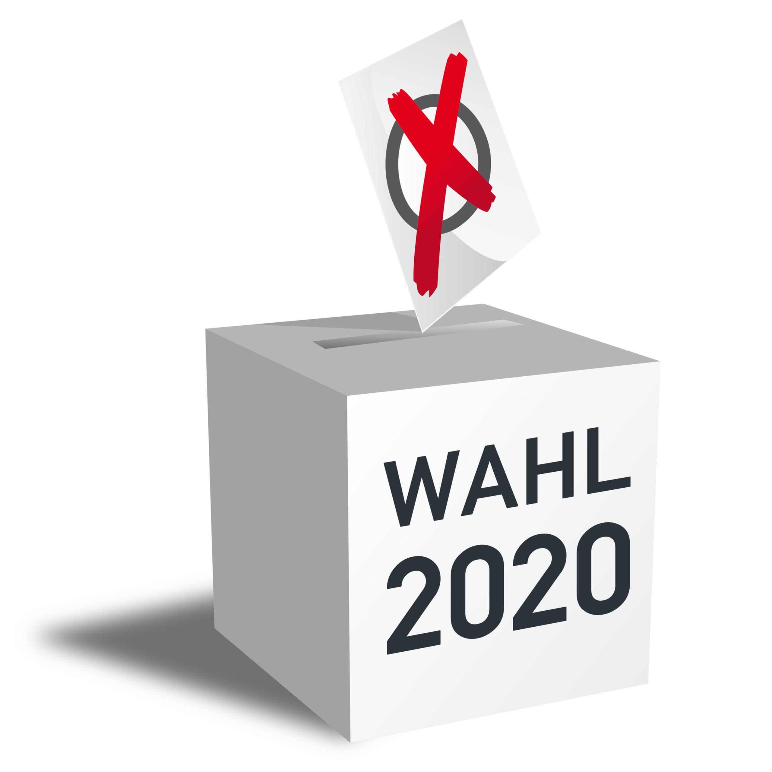 Wahl 2020 Wahlurne und Stimmzettel